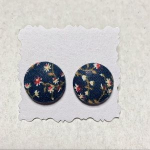 Blue Vintage Floral Fabric Button Earrings